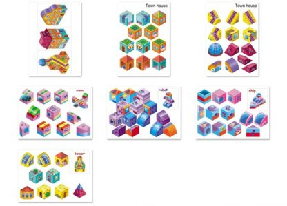 2d Cubes Logic Game. Printable