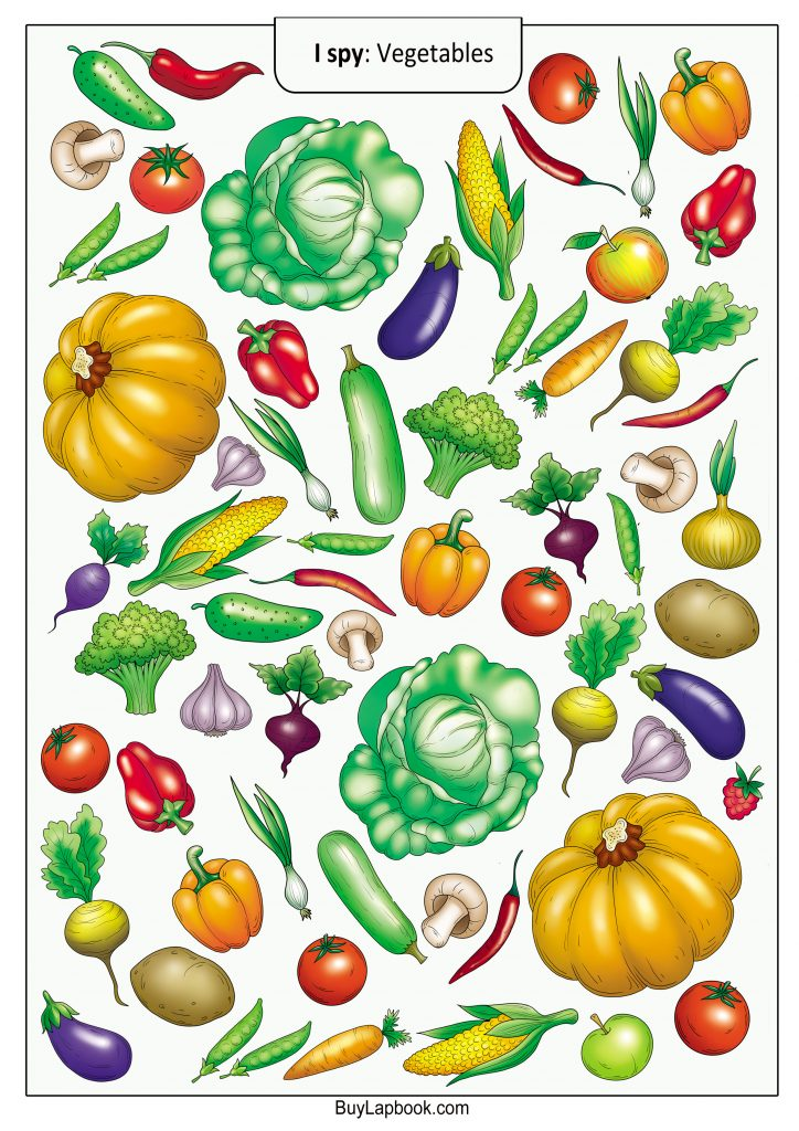 photograph about Printable Vegetables referred to as I Spy Recreation. No cost Veggies Topic Pursuits and Printables