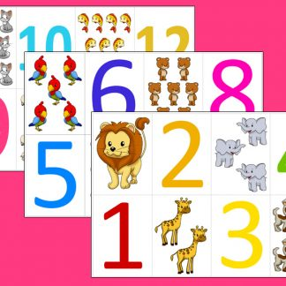 Colorful Numbers 1-12 Flashcards