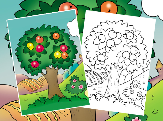 Apple Tree Coloring Page • FREE Printable PDF from PrimaryGames | 500x675