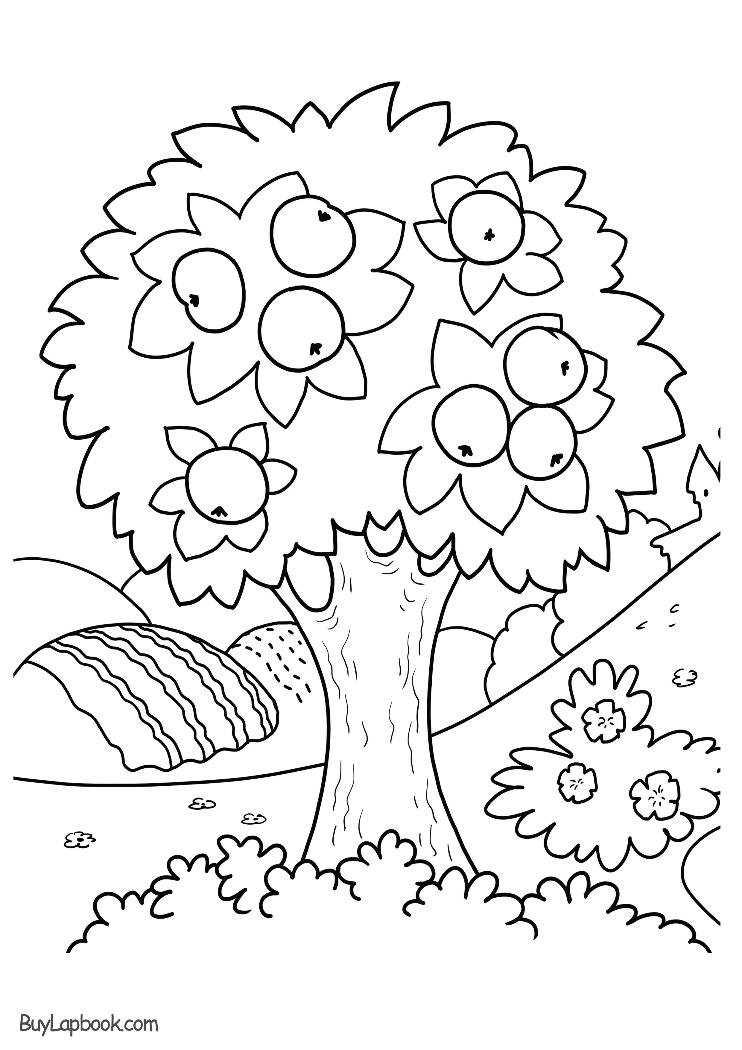 Apple Tree Coloring Page Free Printable - BuyLapbook