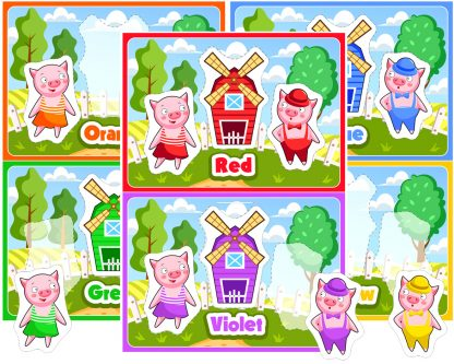 Farm Pig Color Matching Activity