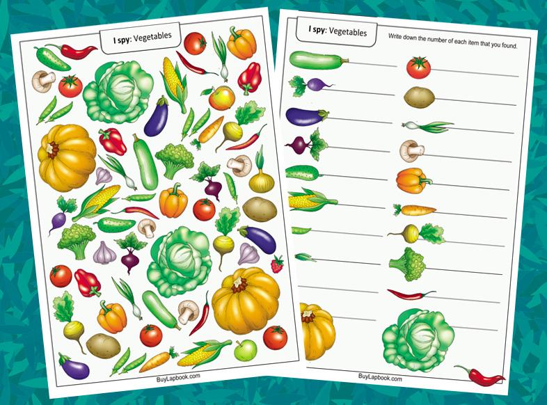 I Spy Game Vegetables Worksheets For Preschoolers BuyLapbook